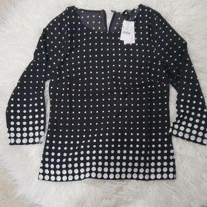 J.Crew Factory Polka Dot printed scoopneck blouse